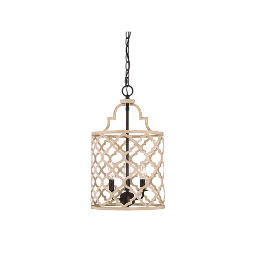 Whittier Quatrefoil  Light Wood with Oil Rubbed Bronze Three-Light Pendant