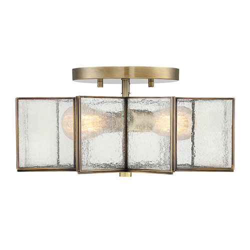 Kenwood Natural Brass Two Light Star Semi Flush Mount