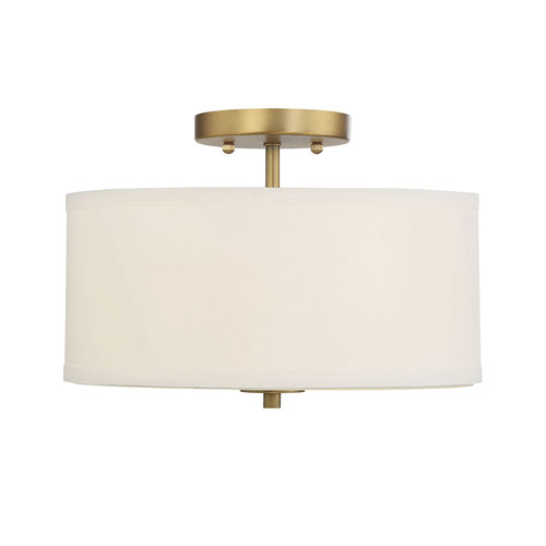 Selby Natural Brass Two-Light Semi Flush Mount with White Fabric Shade