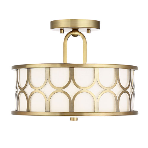 Selby Natural Brass 13-Inch Two-Light Semi Flush Mount Drum  with White Fabric Shade