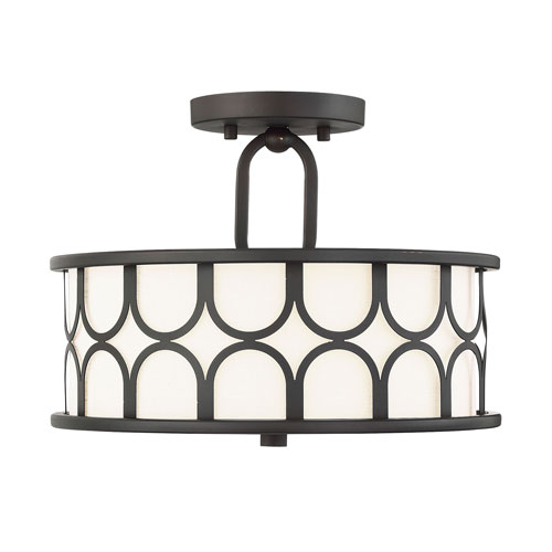 Selby Oil Rubbed Bronze Two-Light Semi Flush Mount Drum