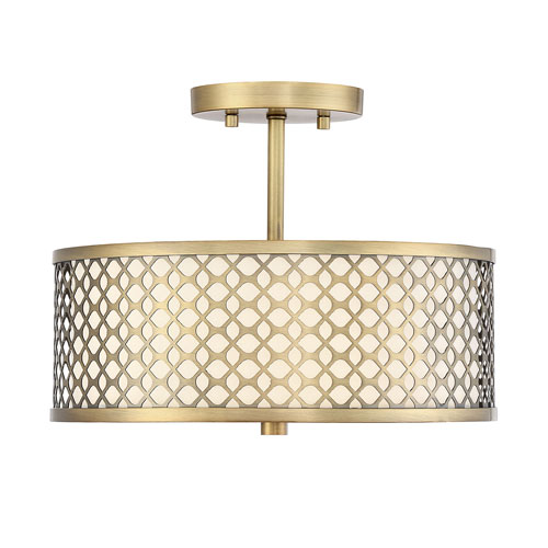 Selby Natural Brass 13-Inch Two-Light Semi Flush Mount Drum