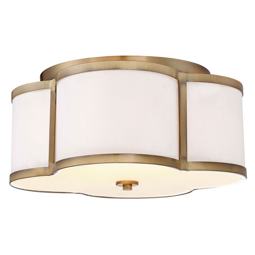 Whittier Quatrefoil  Natural Brass Three-Light Flush Mount
