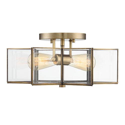 Kenwood Natural Brass 16-Inch Two-Light Semi Flush Mount