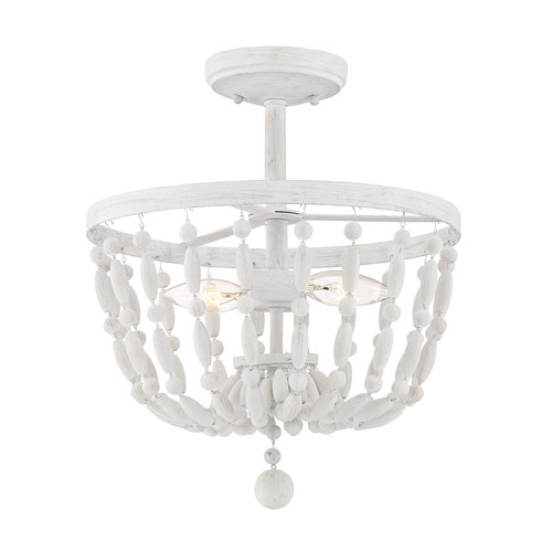 Grace Distressed Wood Two-Light Semi Flush Mount