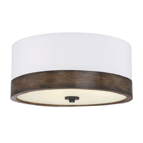 251 First Evelyn Walnut Wood Three Light Flush Mount Drum