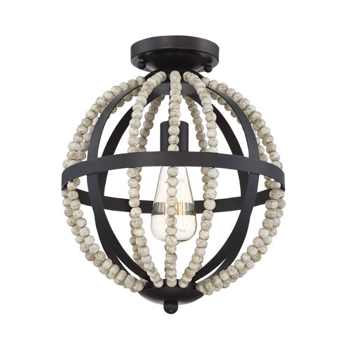 251 First Grace Oil Rubbed Bronze One-Light Semi Flush Mount with Natural Wood Beads