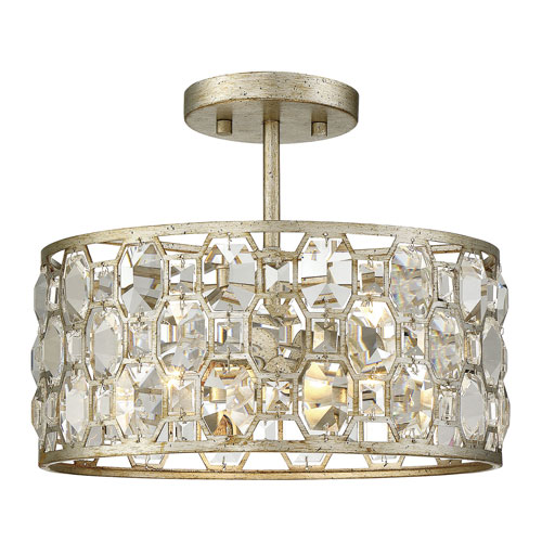 Vivian Silver Gold Two-Light Semi Flush Mount with Crystal Accents