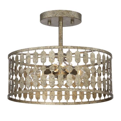 Whittier Antique Gold Three-Light Semi Flush Mount Drum