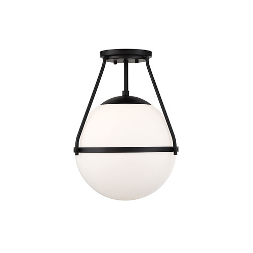 Nicollet Matte Black One-Light Semi Flush Mount