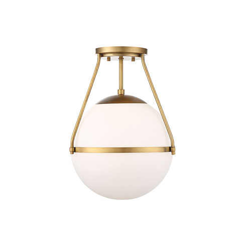 Nicollet Natural Brass One-Light Semi Flush Mount with White Opal Glass