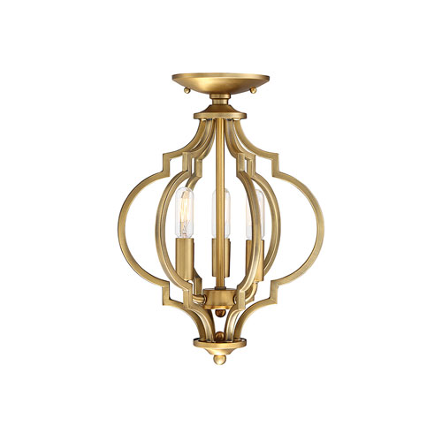 251 First Whittier Quatrefoil  Natural Brass Three-Light Semi Flush Mount
