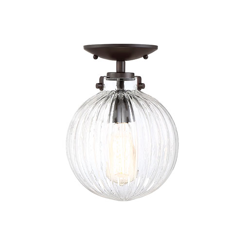 Whittier Oil Rubbed Bronze One-Light Semi Flush Mount with Ribbed Glass