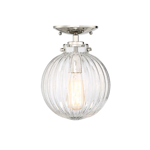 Whittier Polished Nickel One-Light Semi Flush Mount with Ribbed Glass