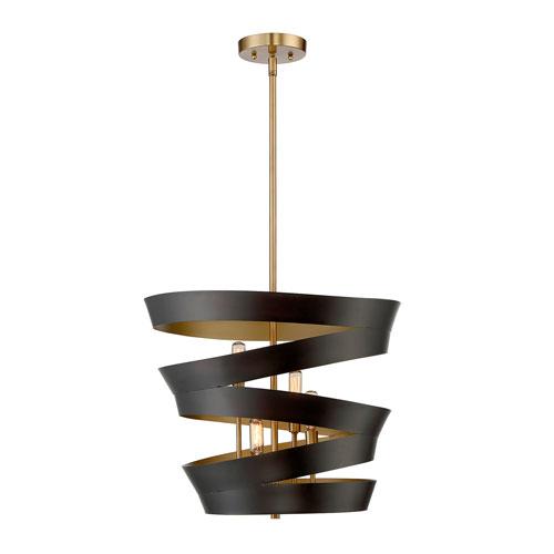 Uptown Matt Black with Gold Four-Light Pendant