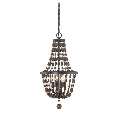 Grace Oil Rubbed Bronze Four-Light Pendant with Wood Beads