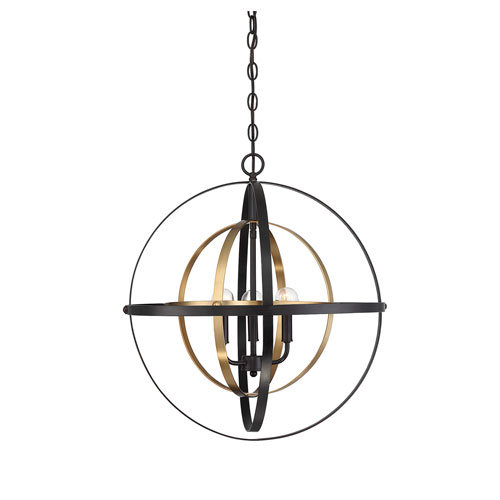 Uptown Oil Rubbed Bronze and Brass Three-Light Chandelier