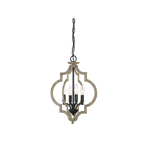 Whittier Quatrefoil  Weathered Birch Four-Light Pendant