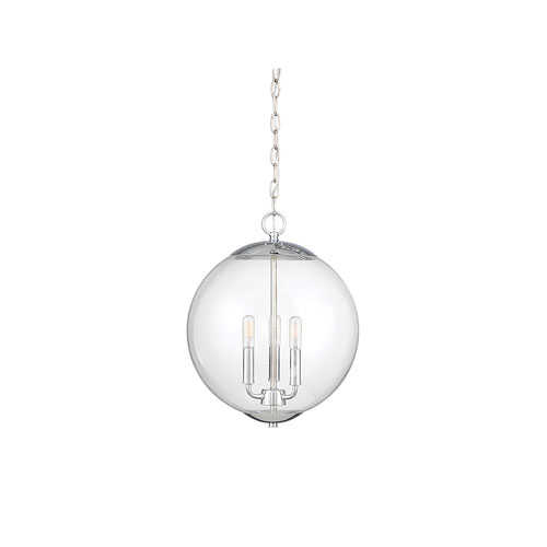 Whittier Chrome Three-Light Globe Pendant