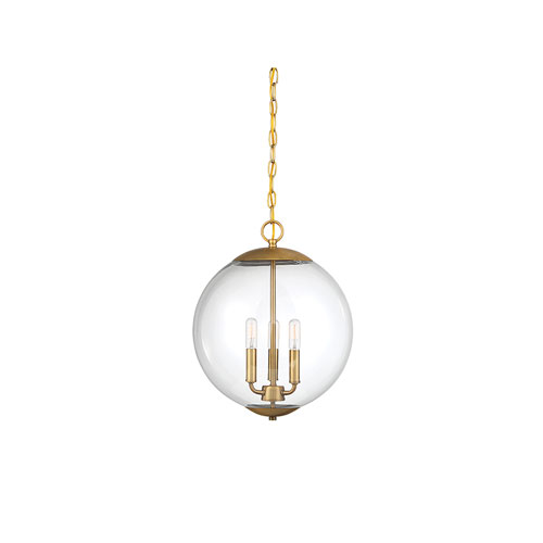Whittier Natural Brass Three-Light Globe Pendant
