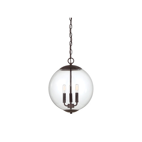 Whittier Oil Rubbed Bronze Three-Light Globe Pendant