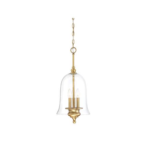 Whittier Natural Brass Three-Light Bell Pendant