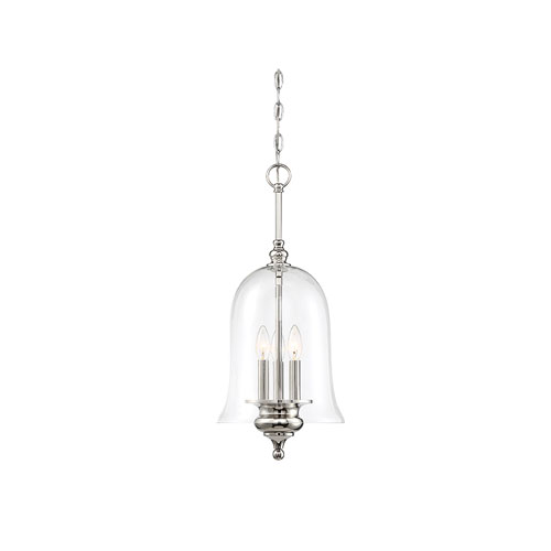 251 First Whittier Polished Nickel Three-Light Bell Pendant