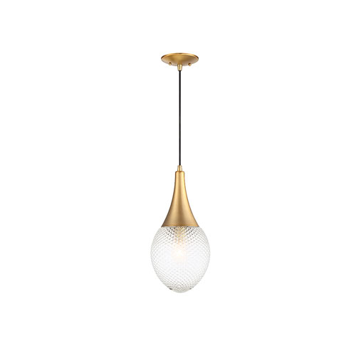 Nicollet Natural Brass Eight-Inch One-Light Mini Pendant with Diamond Cut Glass