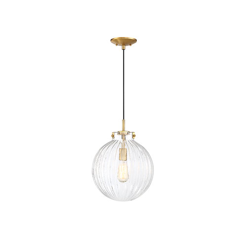 Whittier Chrome One-Light Mini Pendant with Ribbed Glass
