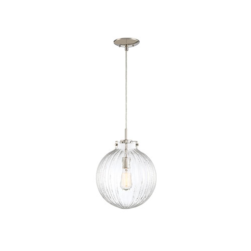 Whittier Polished Nickel One-Light Mini Pendant with Ribbed Glass