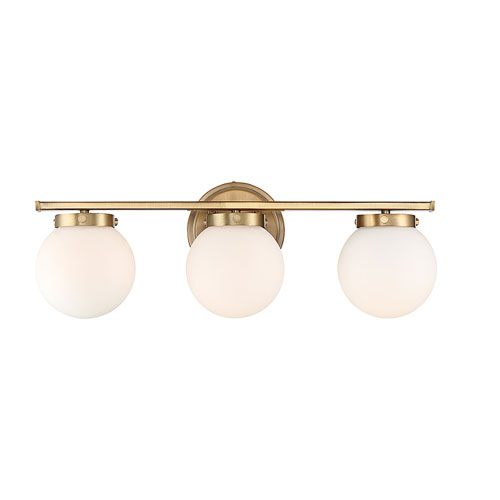 Nicollet Natural Brass Three-Light Bath Vanity with White Opal Glass