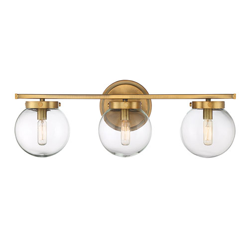 Nicollet Natural Brass Three-Light Bath Vanity