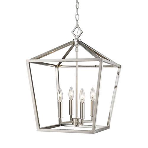 251 First Kenwood Satin Nickel 16-Inch Four-Light Lantern Pendant