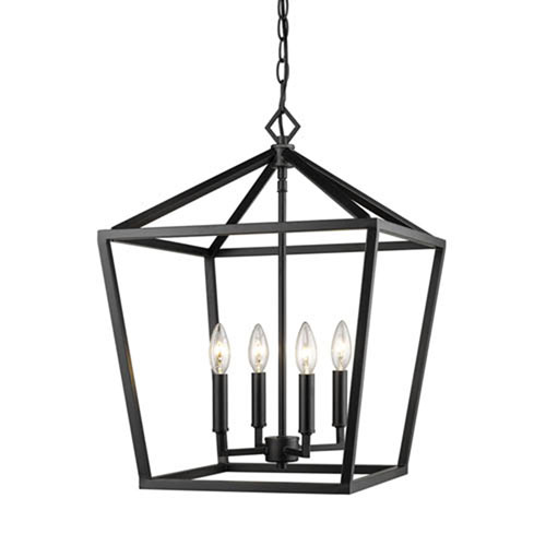 251 First Kenwood Matte Black 16-Inch Four-Light Lantern Pendant