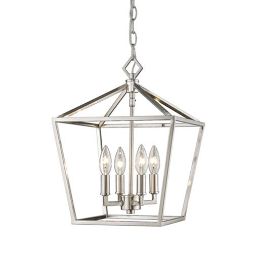 Kenwood Satin Nickel 12-Inch Four-Light Lantern Pendant