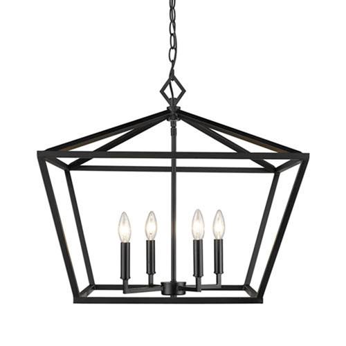 251 First Kenwood Matte Black 23-Inch Four-Light Lantern Pendant