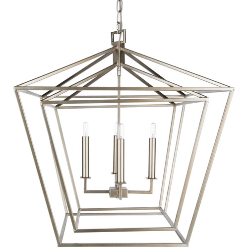 251 First Isles Silver 24-Inch Four-Light Lantern Pendant