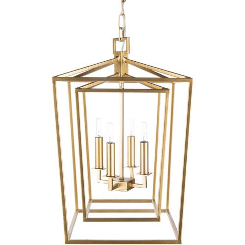 251 First Isles Gold 14-Inch Four-Light Lantern Pendant