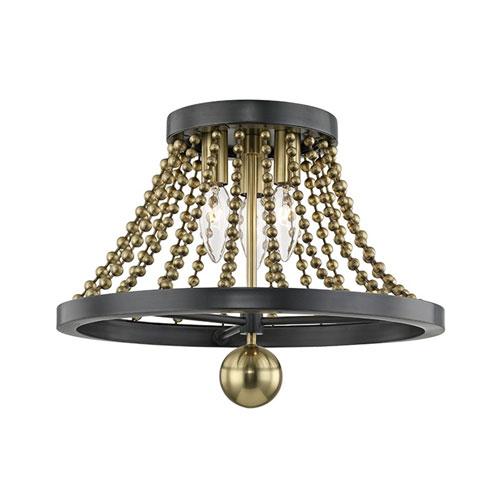 Guildhouse Aged Brass Three-Light Flush Mount