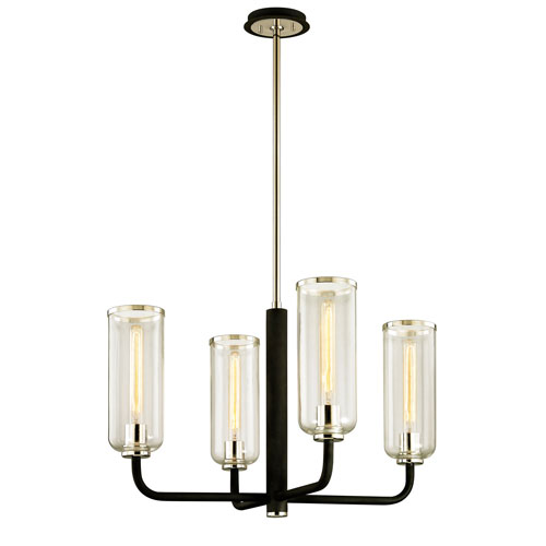 Alma Black and Polished Nickel Four-Light Chandelier