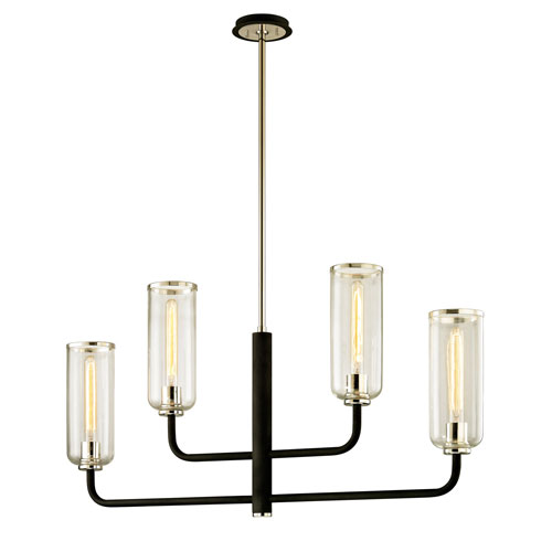 Alma Black and Polished Nickel Four-Light Linear Pendant