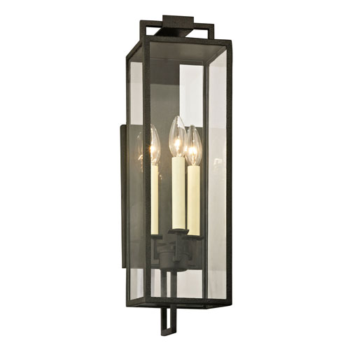 Beatty Forged Iron Three-Light Outdoor Wall Sconce