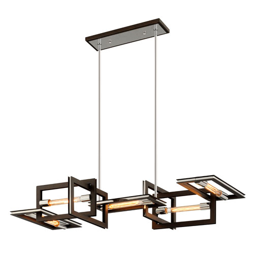 Handel Bronze and Polished Stainless Five-Light Linear Pendant