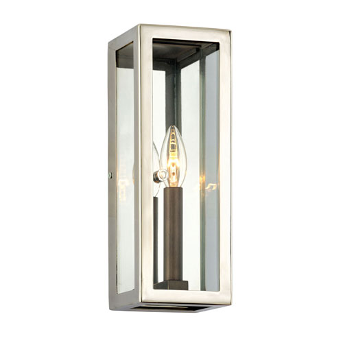 Alpha Bronze and Polished Stainless 13-Inch One-Light Outdoor Wall Sconce