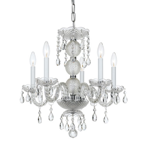 251 First Wellington Chrome 17-Inch Five-Light Mini Chandelier