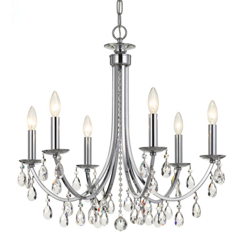 251 First Wellington Chrome 26-Inch Six-Light Chandelier