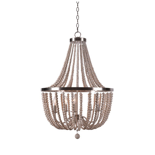 Grace Brushed Steel Five-Light Chandelier with White Woods Beads