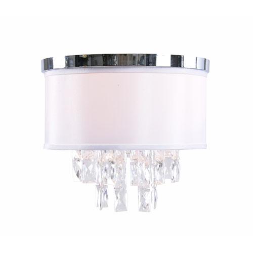 Vivian Chrome Two-Light  Flush Mount with White Shade