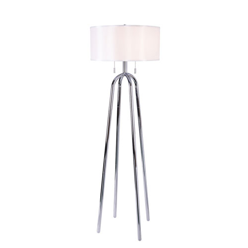 Uptown Chrome Two-Light Floor Lamp