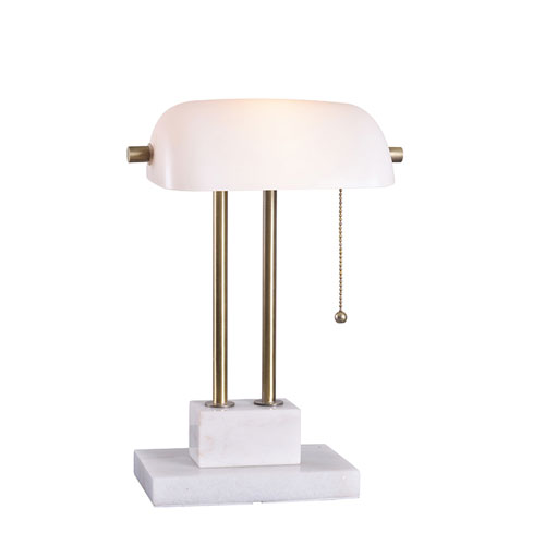 Selby Antique Brass and Marble One-Light Desk Lamp